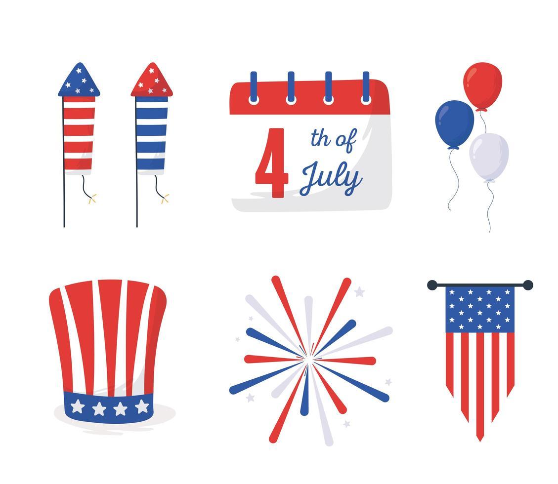 día de la independencia, iconos, conjunto, vector, diseño vector