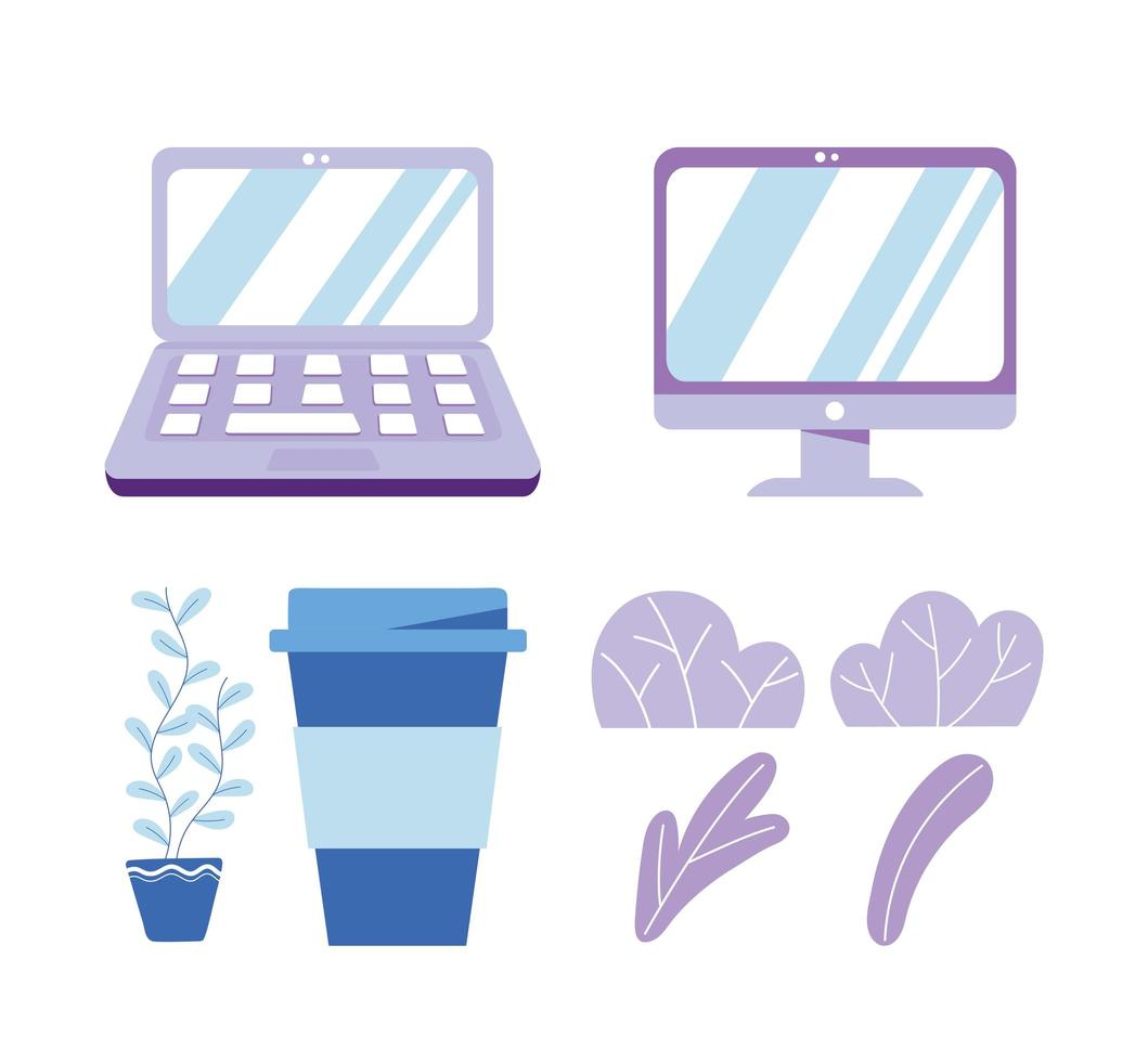 laptop computer monitor device technology coffee cup plants icons vector