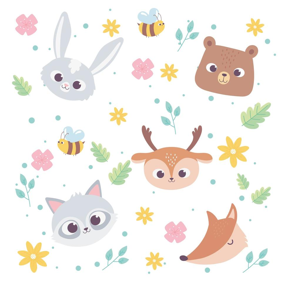 Cute Cartoon Animals Wild Little Faces Rabbit Bear Deer Fox And Raccoon Flowers Bee Background Download Free Vectors Clipart Graphics Vector Art