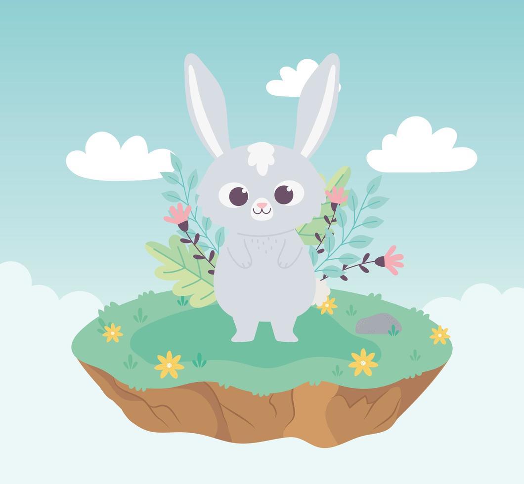 cute cartoon animal adorable rabbit with flowers vector