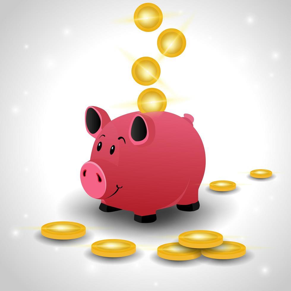 Hucha rosa con monedas de oro aislado sobre fondo blanco. vector