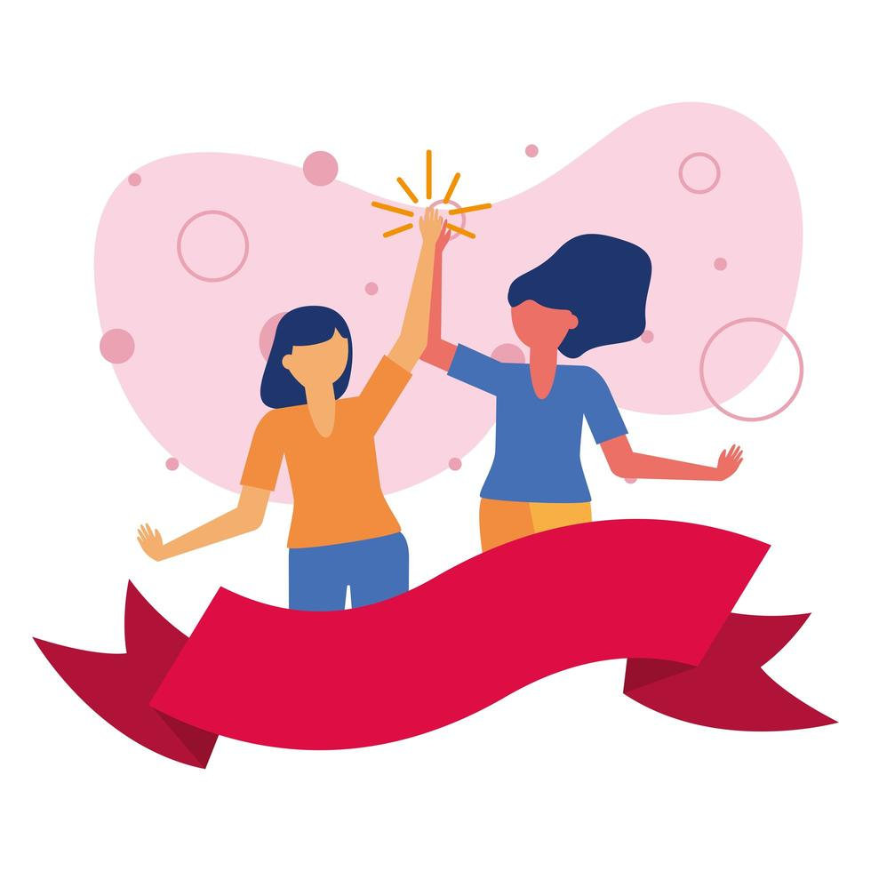 women avatars friends with ribbon vector design