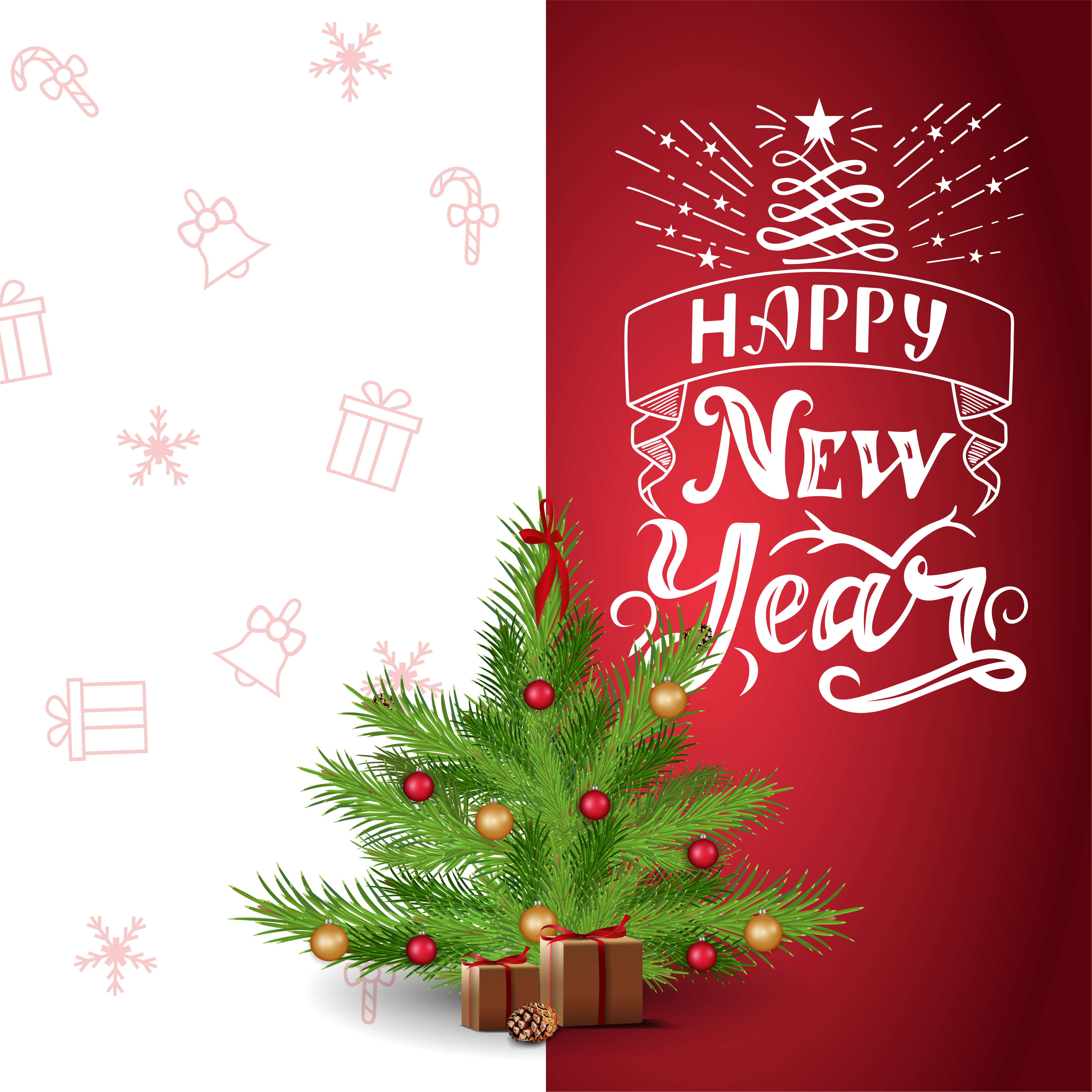 Happy New Year Red And White Postcard With Beautiful Lettering And Cartoon Christmas Tree Download Free Vectors Clipart Graphics Vector Art Download 2,504 cartoon christmas tree free vectors. vecteezy