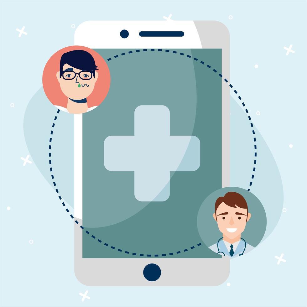 Doctor masculino en línea y cliente hombre con diseño vectorial de teléfono inteligente vector