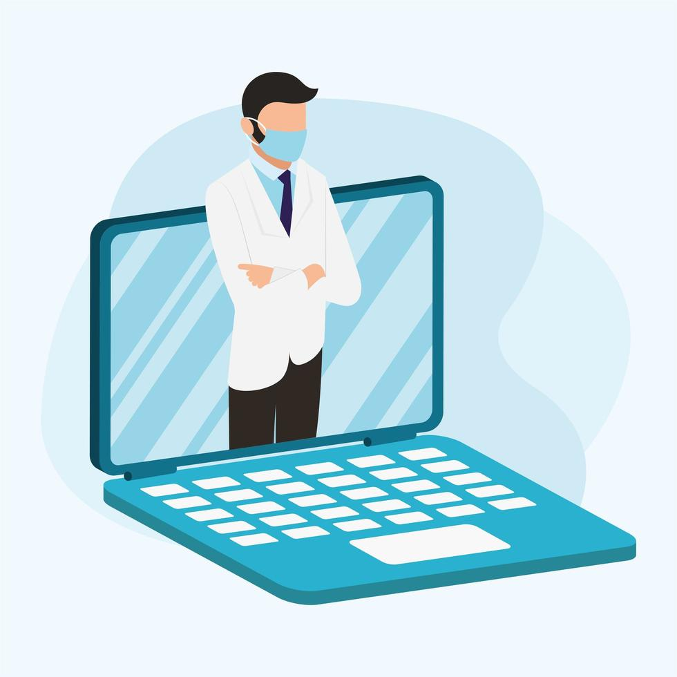 online male doctor with mask on laptop vector design