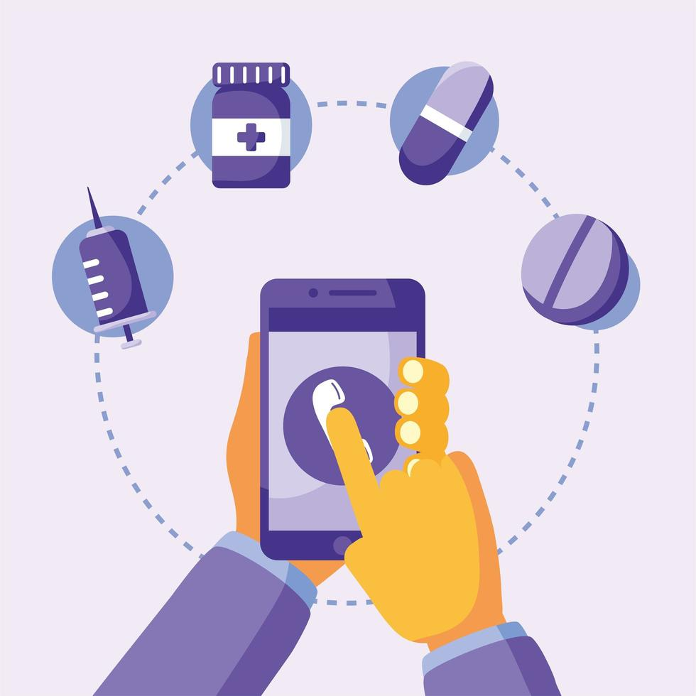 hand holding smartphone with phone and icon set vector design