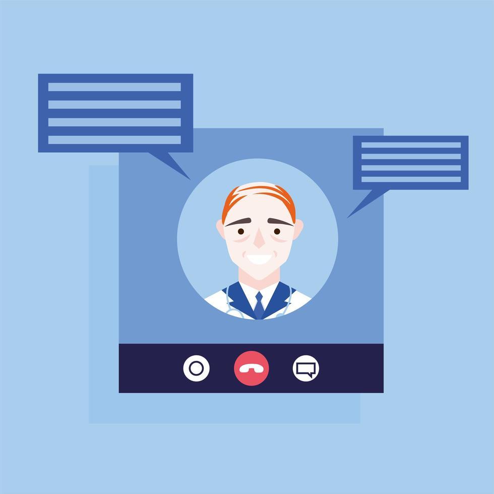 Doctor masculino en línea en video chat con diseño de vector de burbujas