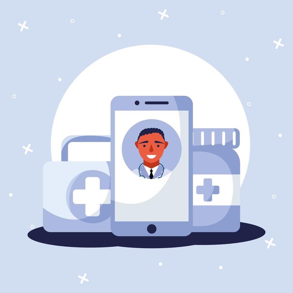 Doctor masculino en línea en kit de teléfono inteligente y diseño de vector de tarro de pastillas