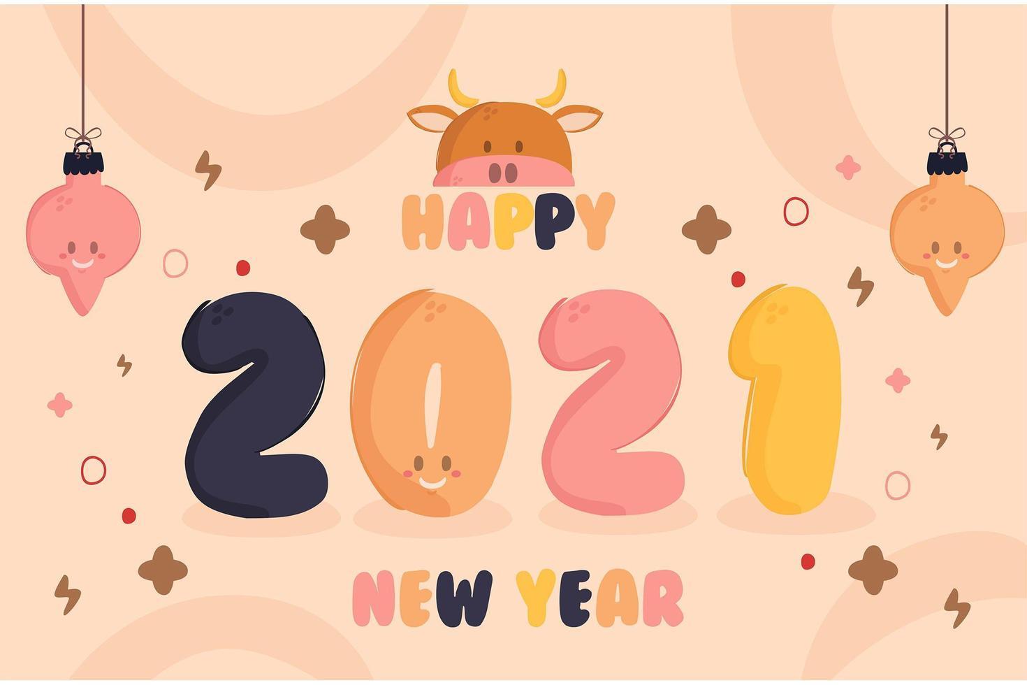 2021 New Year Background Design vector