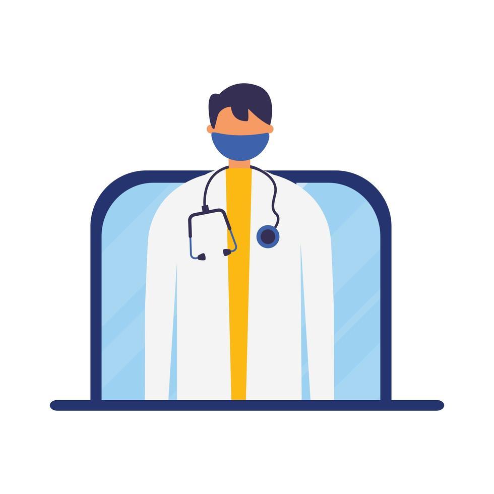 Doctor masculino en línea con máscara en diseño vectorial portátil vector