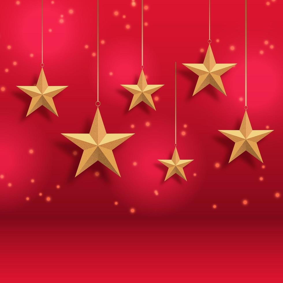 Gold stars Christmas background vector