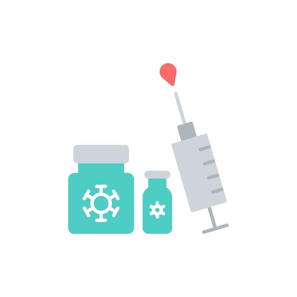 Syringe and medicine flat icon vector