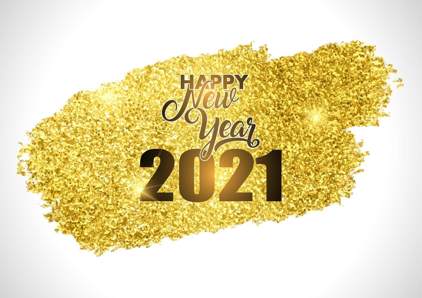 Gold glittery Happy New Year design vector