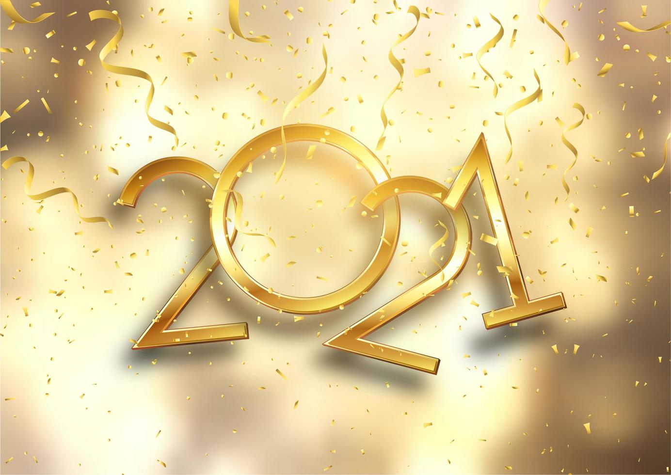 Gold Happy New Yyear background with confetti and streamers vector