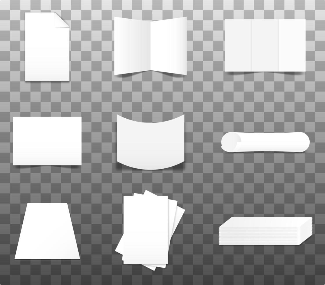 Set of Realistic Paper Mockup vector