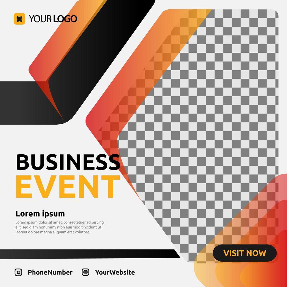 Digital business event post social media template design vector