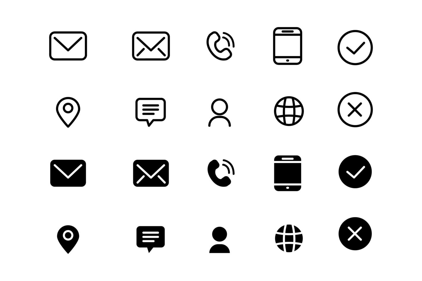 Set of linear and silhouette contact icons design collection vector