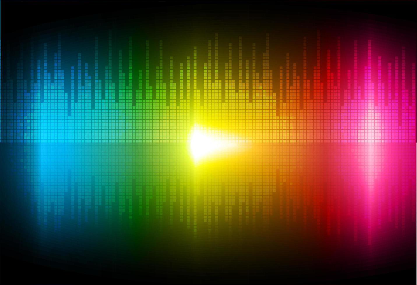 ondas sonoras que oscilan con luz colorida vector