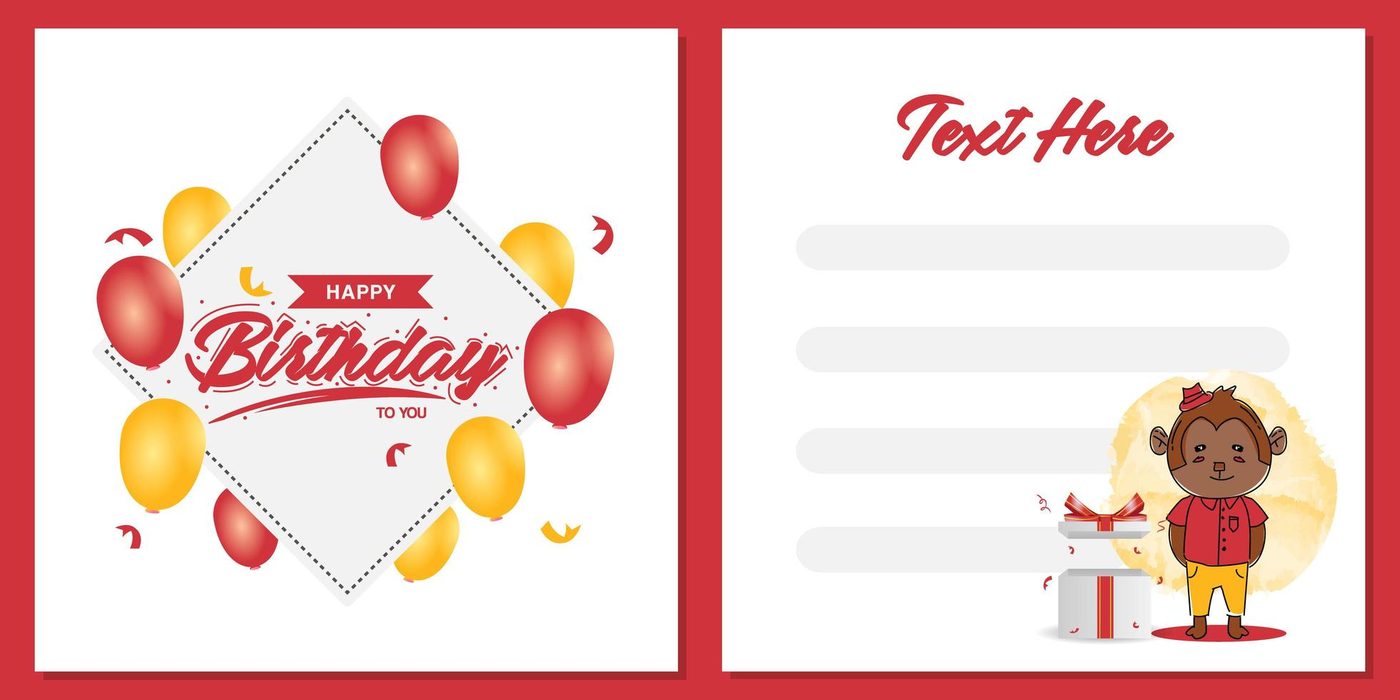 Square birthday party invitation card template design with monkey