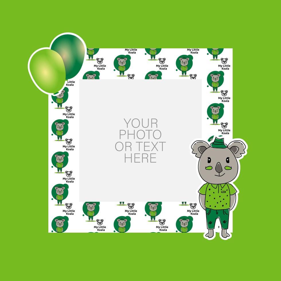 Photo frame with cartoon koala and balloons design vector