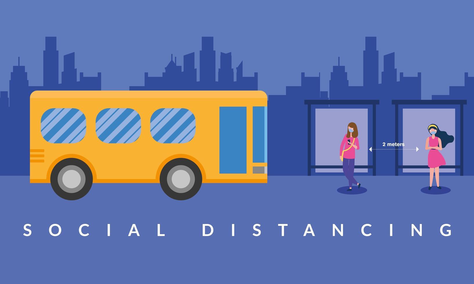 Distanciamiento social entre niñas con máscaras en el diseño vectorial de la estación de autobuses escolares vector