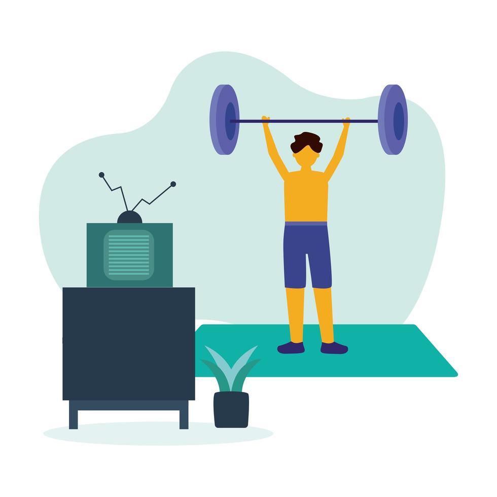 Hombre haciendo ejercicio con peso en casa diseño vectorial vector