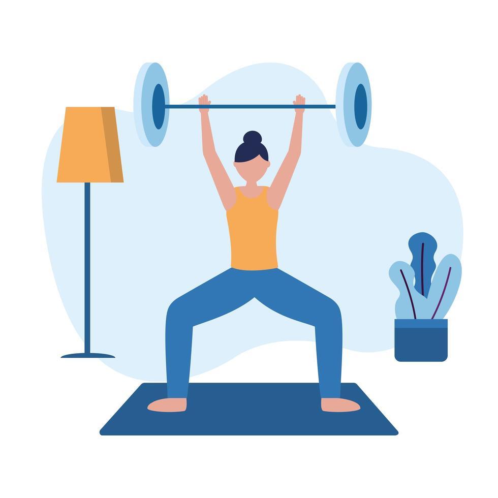 Mujer haciendo ejercicio con peso en casa diseño vectorial vector