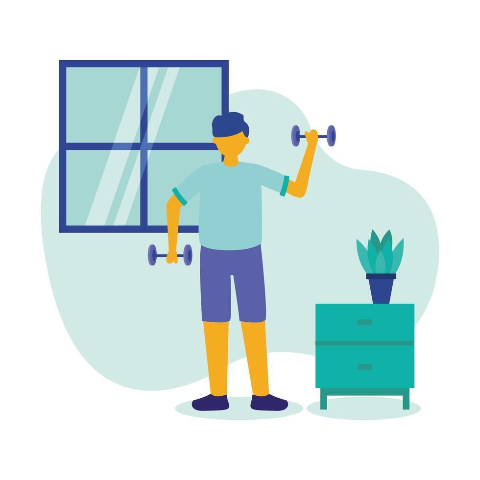 Hombre haciendo ejercicio con pesas en casa diseño vectorial vector