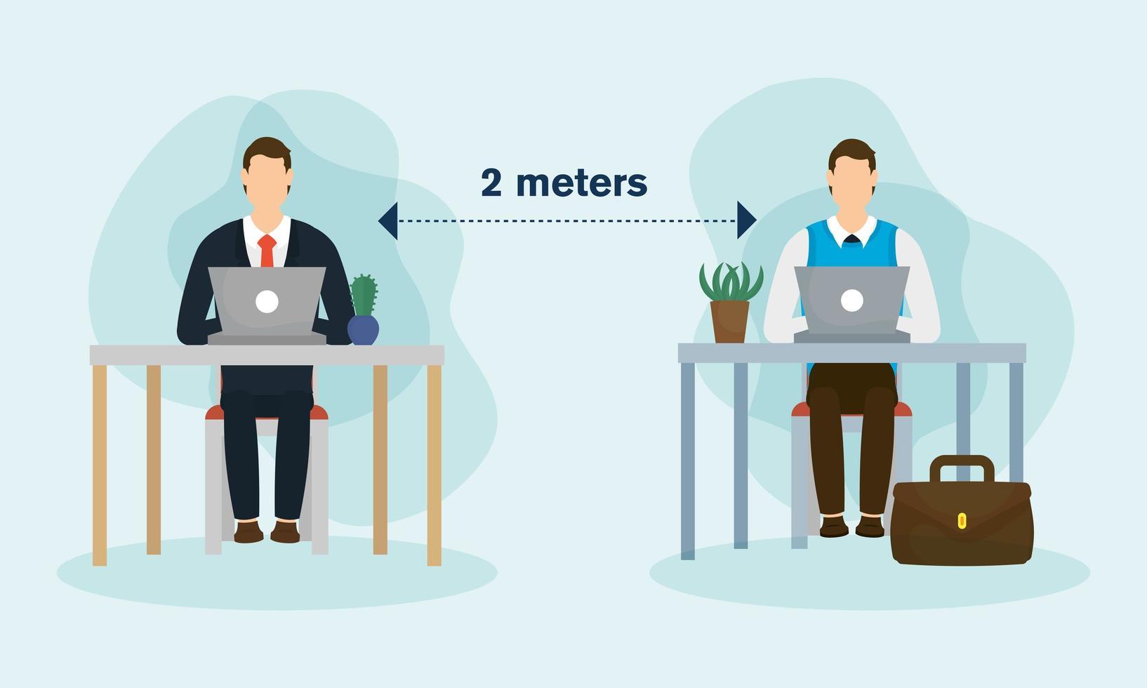 Distancia de trabajo entre hombres con computadoras portátiles en escritorios de diseño vectorial vector