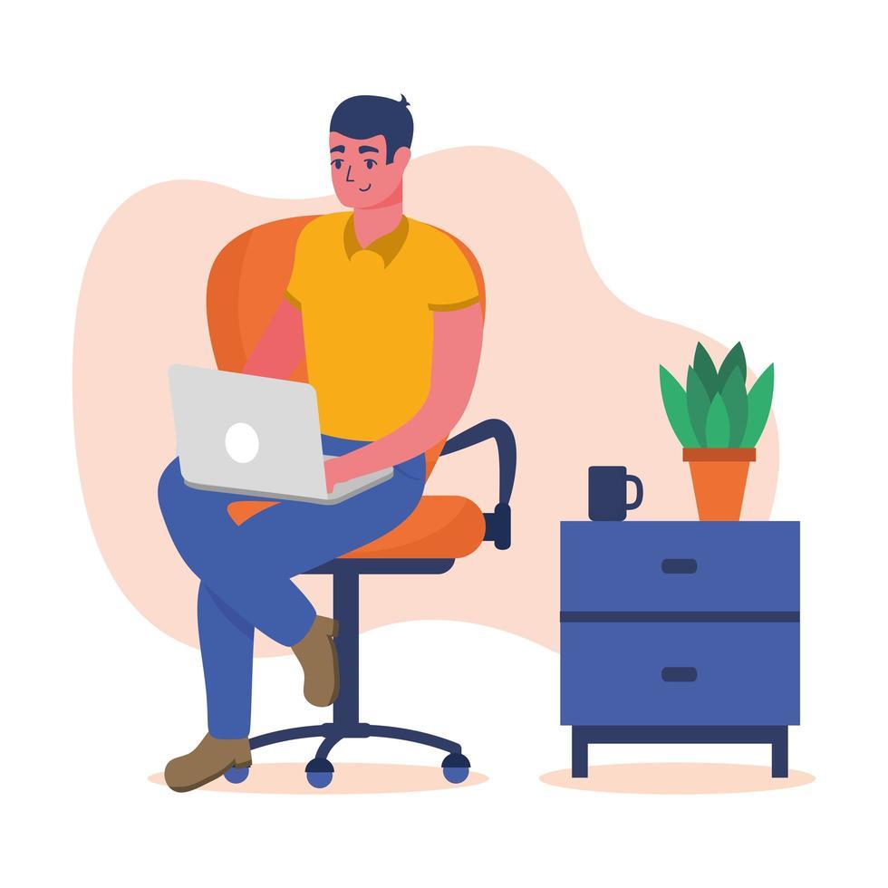 Hombre con laptop en silla en casa diseño vectorial vector