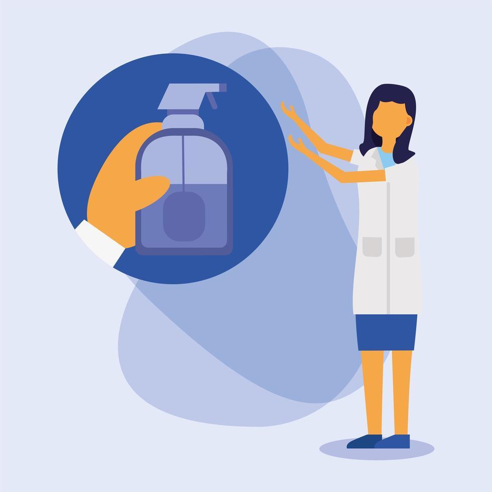 Hands sanitizer bottle and female doctor vector design