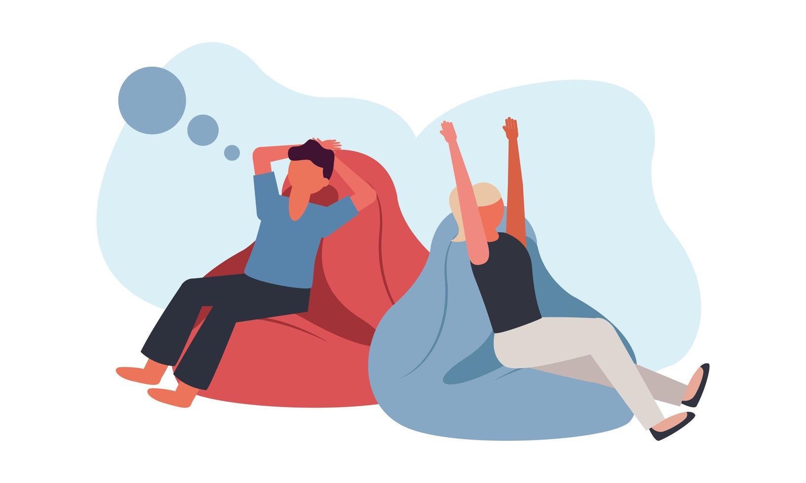 hombre y mujer en puff en casa diseño vectorial vector