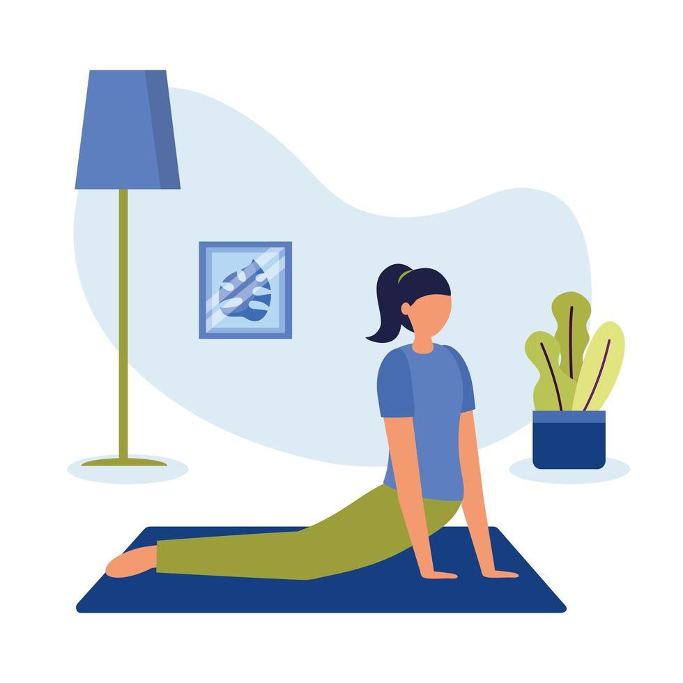 Mujer haciendo yoga en la estera en casa diseño vectorial vector