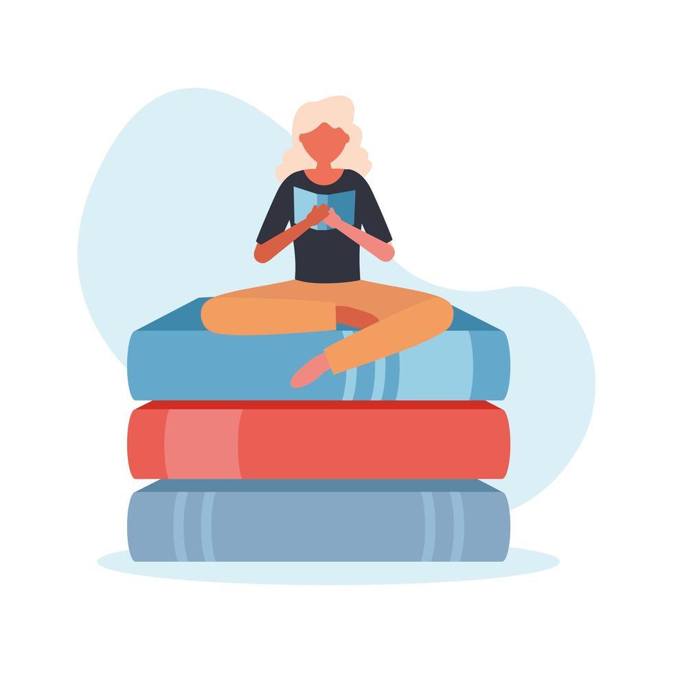 mujer haciendo yoga en libros diseño vectorial vector