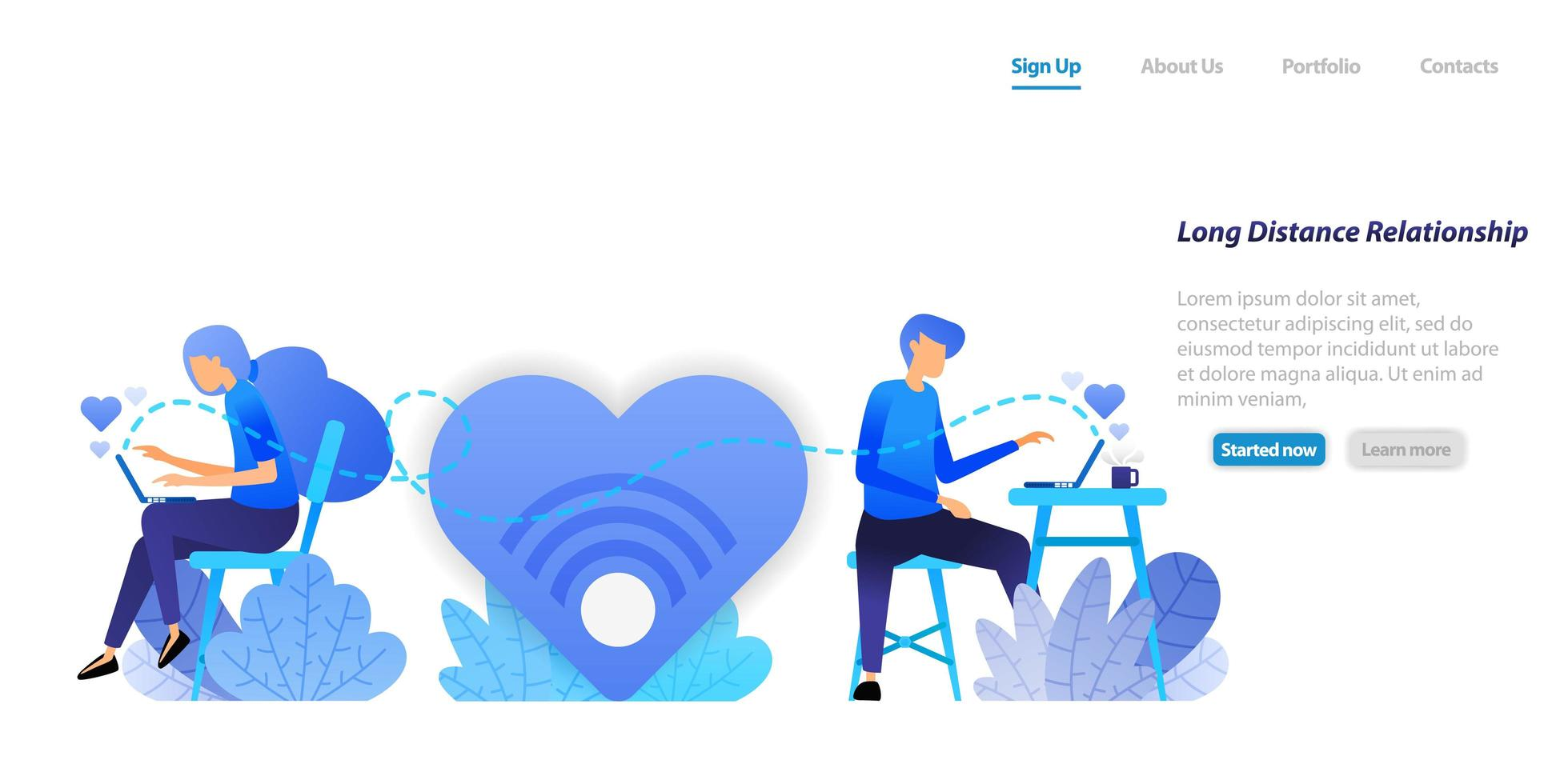 send chat big love messages  from long distance relationship couple communication with a desktop laptop. flat illustration concept for landing page, web, ui, banner, flyer, poster, template, background vector