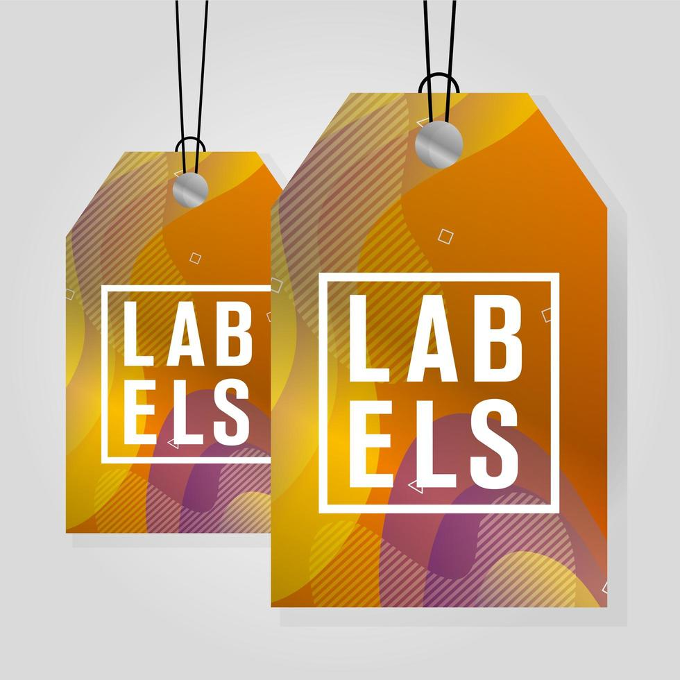 commercial tags hanging with vibrant color vector