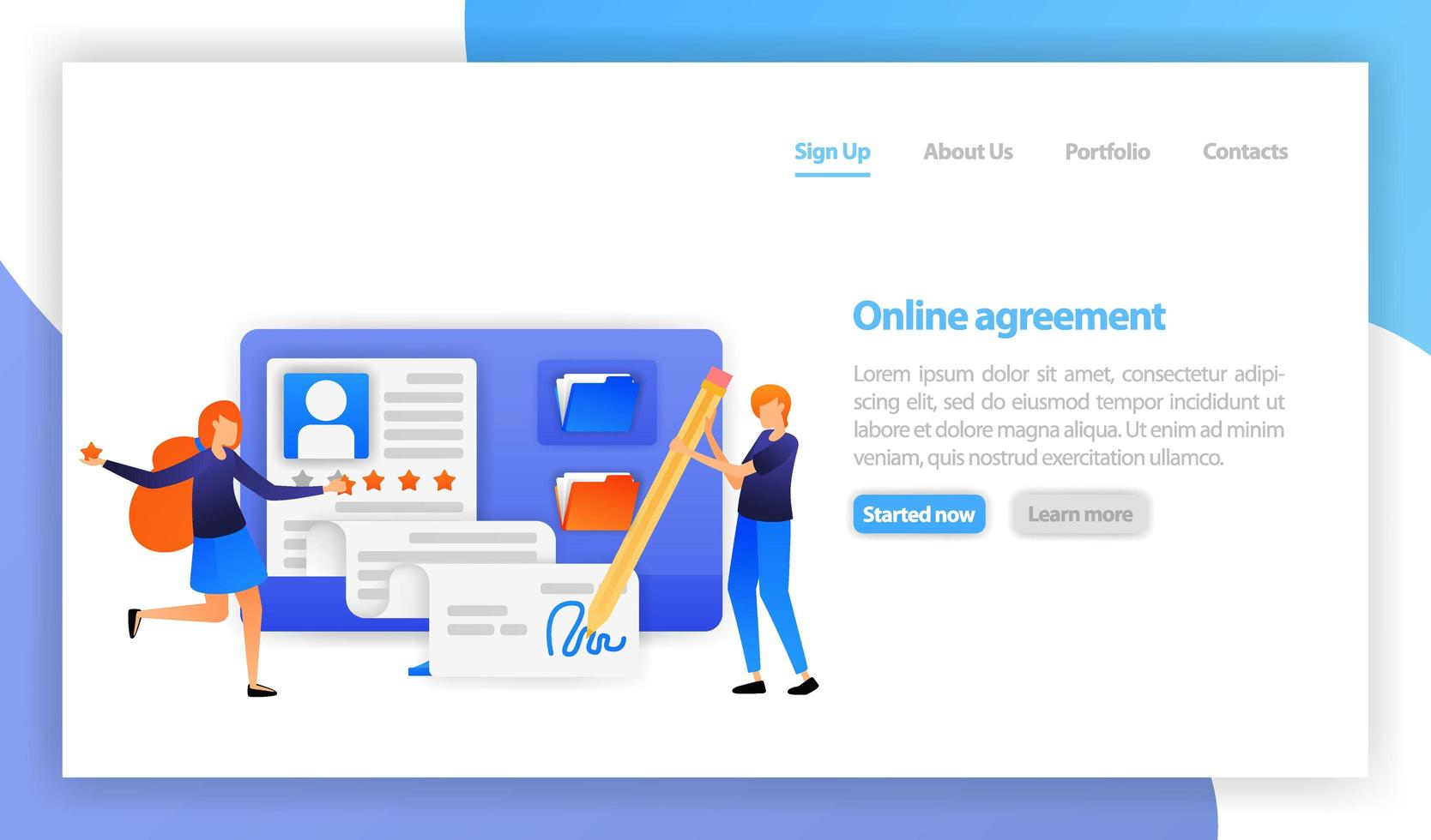 flat vector illustration for web, banner, landing page, mobile, UI. businessman signing online contract agreement with computer. smart digital agreement sign. Partnership, deal, negotiations concept
