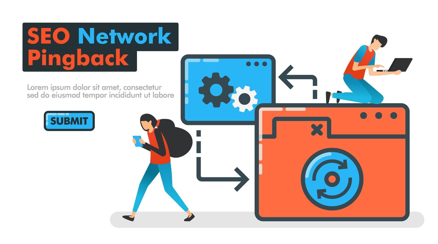 Ilustración de vector de línea de pingback de red seo. las personas intentan hacer ping en la red del sitio web para probar la optimización seo y el rendimiento en el sitio y las aplicaciones móviles. mecanismo de retorno de ping. para anuncios de sitios web de páginas de destino