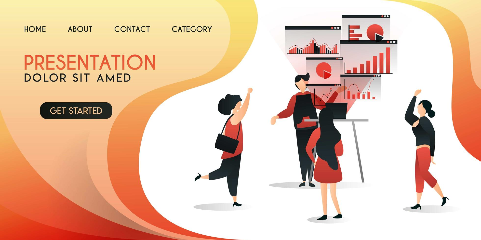salesmen who are presenting their work to clients utilize the latest technology,vector illustration concept, can be use for presentation, web, banner ui ux, landing page vector