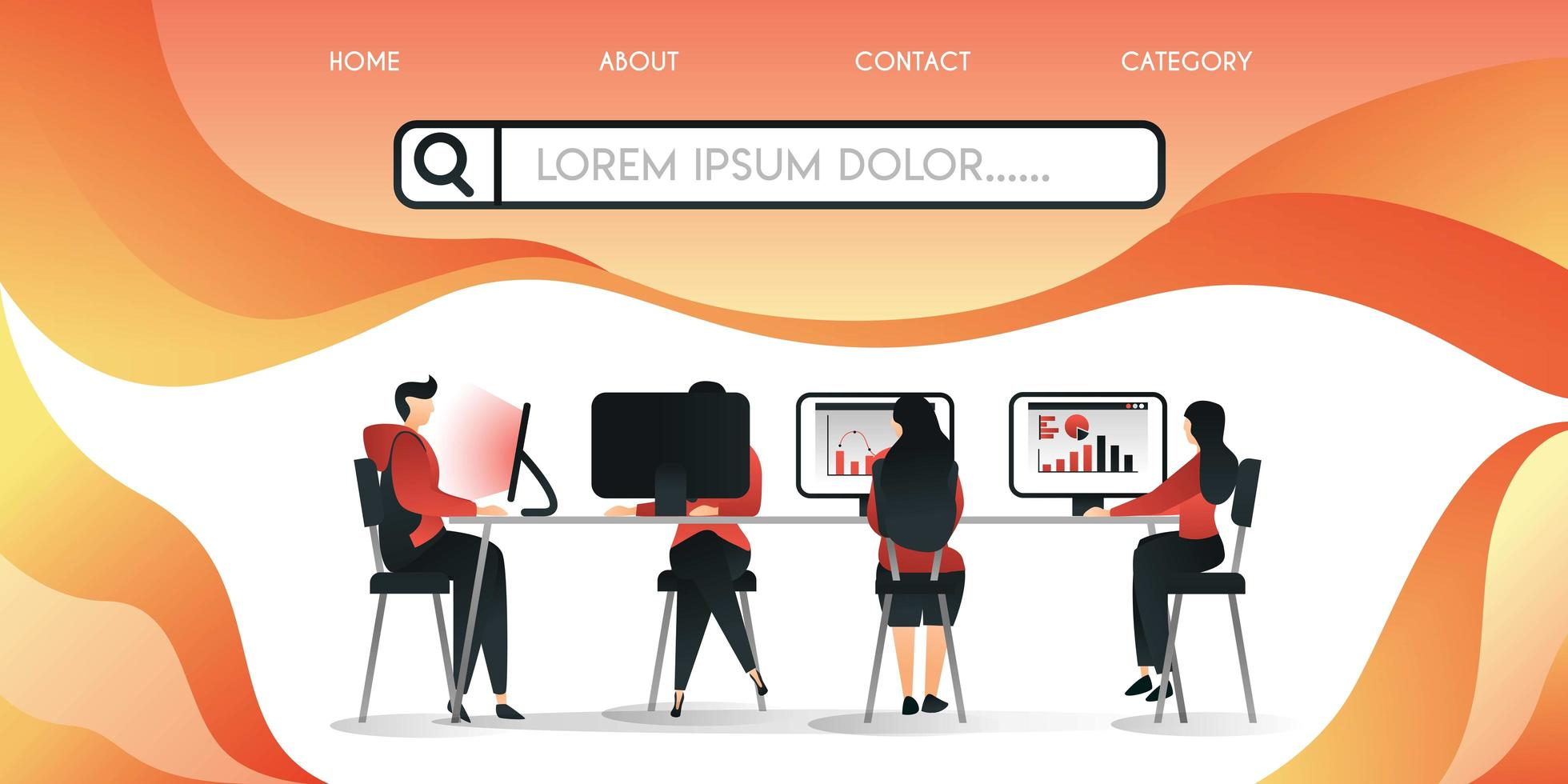 startup or company that is working on a long table can be partitioned ,vector illustration concept, can be use for presentation, web, banner ui ux, landing page vector