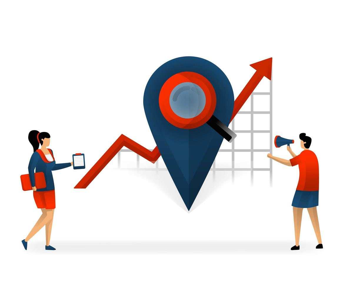 Business and promotion of vector illustration. location determines right keyword. determine keywords based on location. Good and targeted SEO. internet marketing online. SEO logo. flat character style