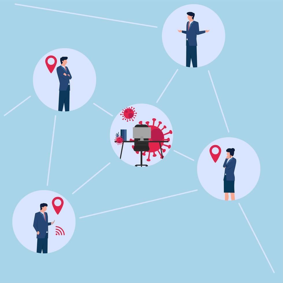 Ilustración de ubicación de rastreo de personas en contacto con virus. vector