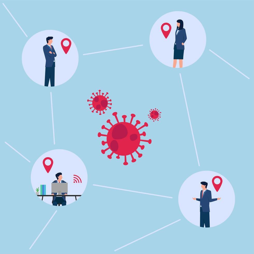 Ilustración del contacto de personas de la oficina de ubicación de rastreo con virus. vector