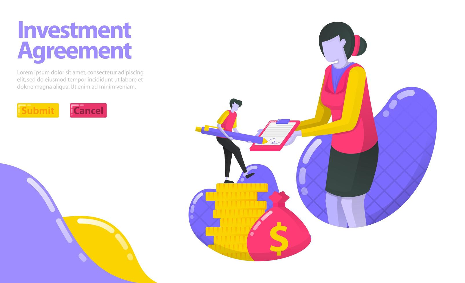 Illustration of investment agreement. person who signed the agreement with the investment manager. Invest in money and asset. flat vector concept for Landing page, website, mobile, apps ui, ux, banner