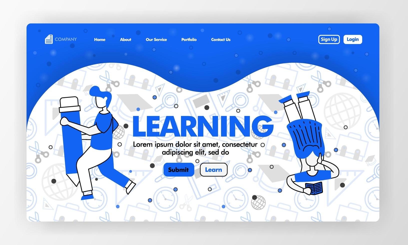 Landing page for learning and education in line style and cartoon flat illustration. Girl read and holding pencil with stationary background pattern. Can for Website, UI UX, Web, Mobile App, Poster vector