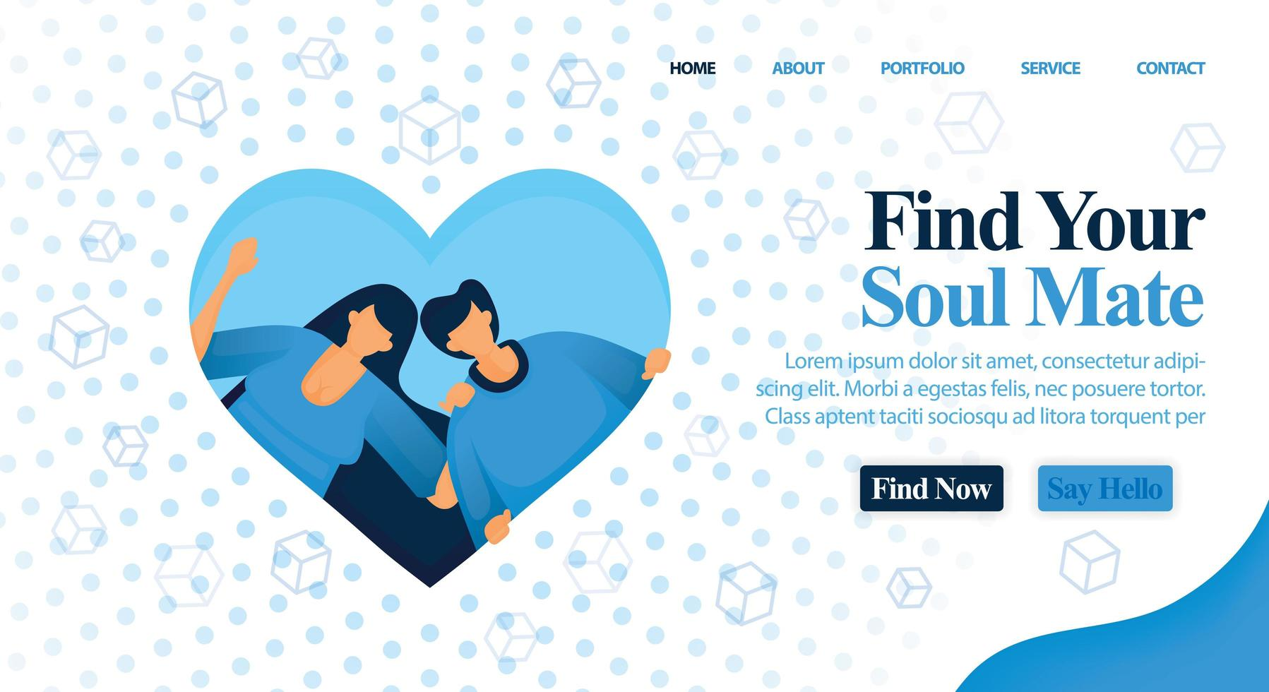 Website for matchmaker, friend and plan your wedding. Find your soul mate and perfect partner here for your wedding and engagement. Vector Illustration For Web, Landing Page, Banner, Mobile Apps, Card