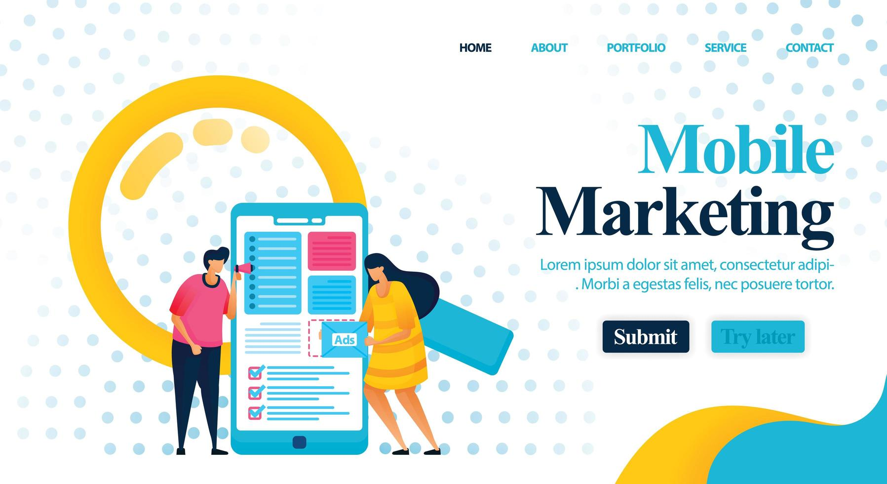 Optimization of ad costs and layout using mobile marketing to get profit. consulting for promotion and marketing to find better keywords. Vector Illustration For Web, Landing Page, Banner, Mobile Apps