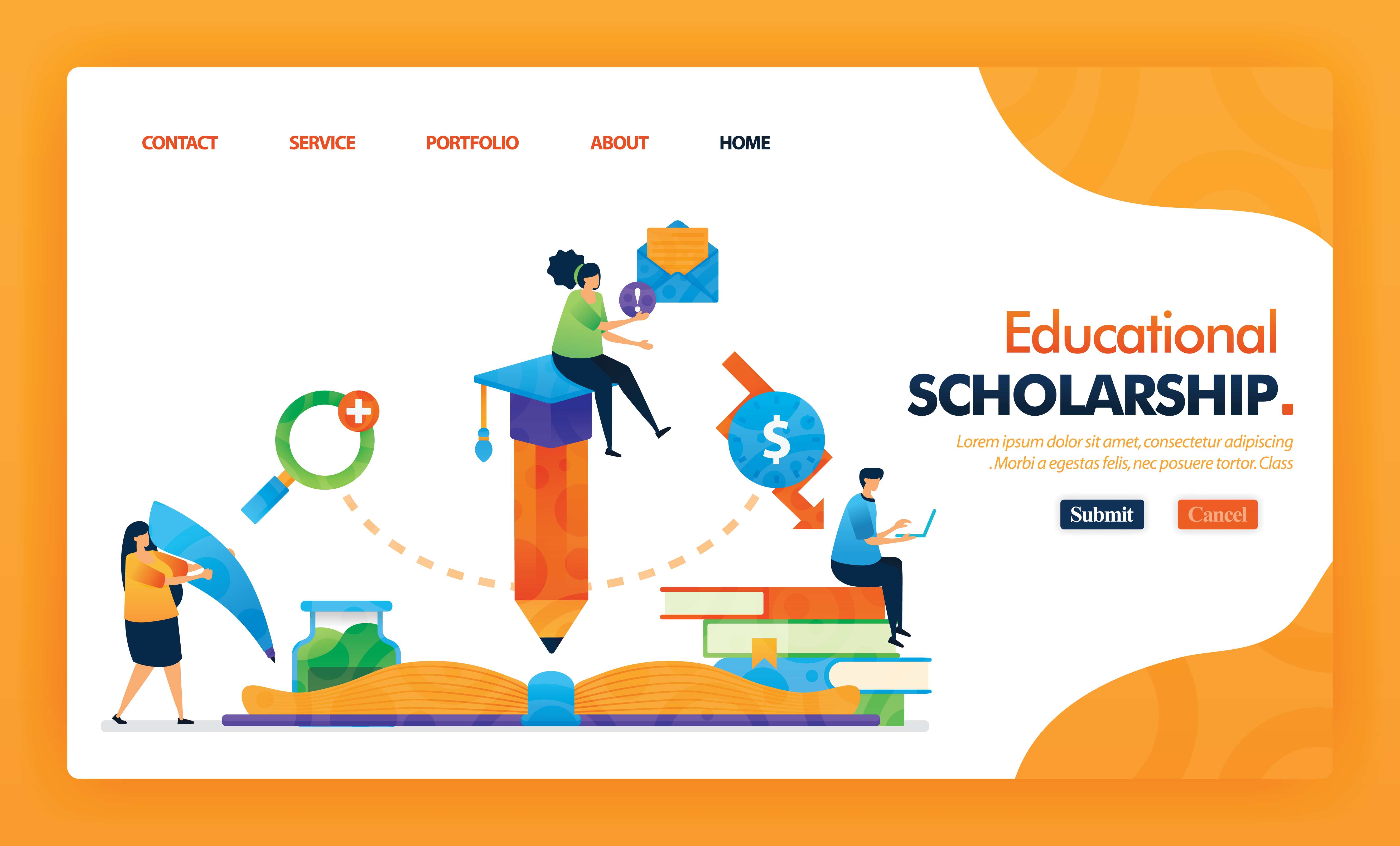 Educational Scholarship Landing Page Yellow Vector Concept With Flat Cartoon Character And Icon Homepage Design Can Be Use For Landing Page Web Mobile Apps Ui Poster Flyer Marketing Promotion Download Free