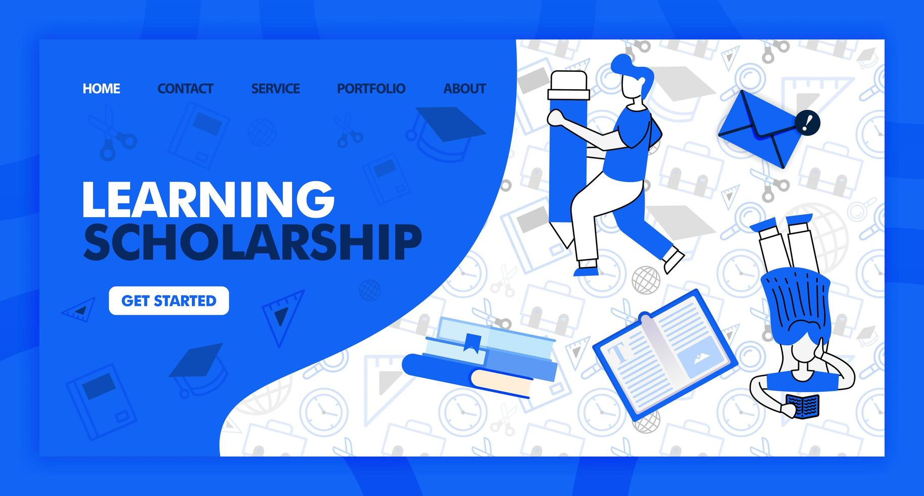 Landing page for learning and scholarship in line style and cartoon flat illustration. Girl read and holding pencil with stationary background pattern. Can for Website, UI UX, Web, Mobile App, Poster vector