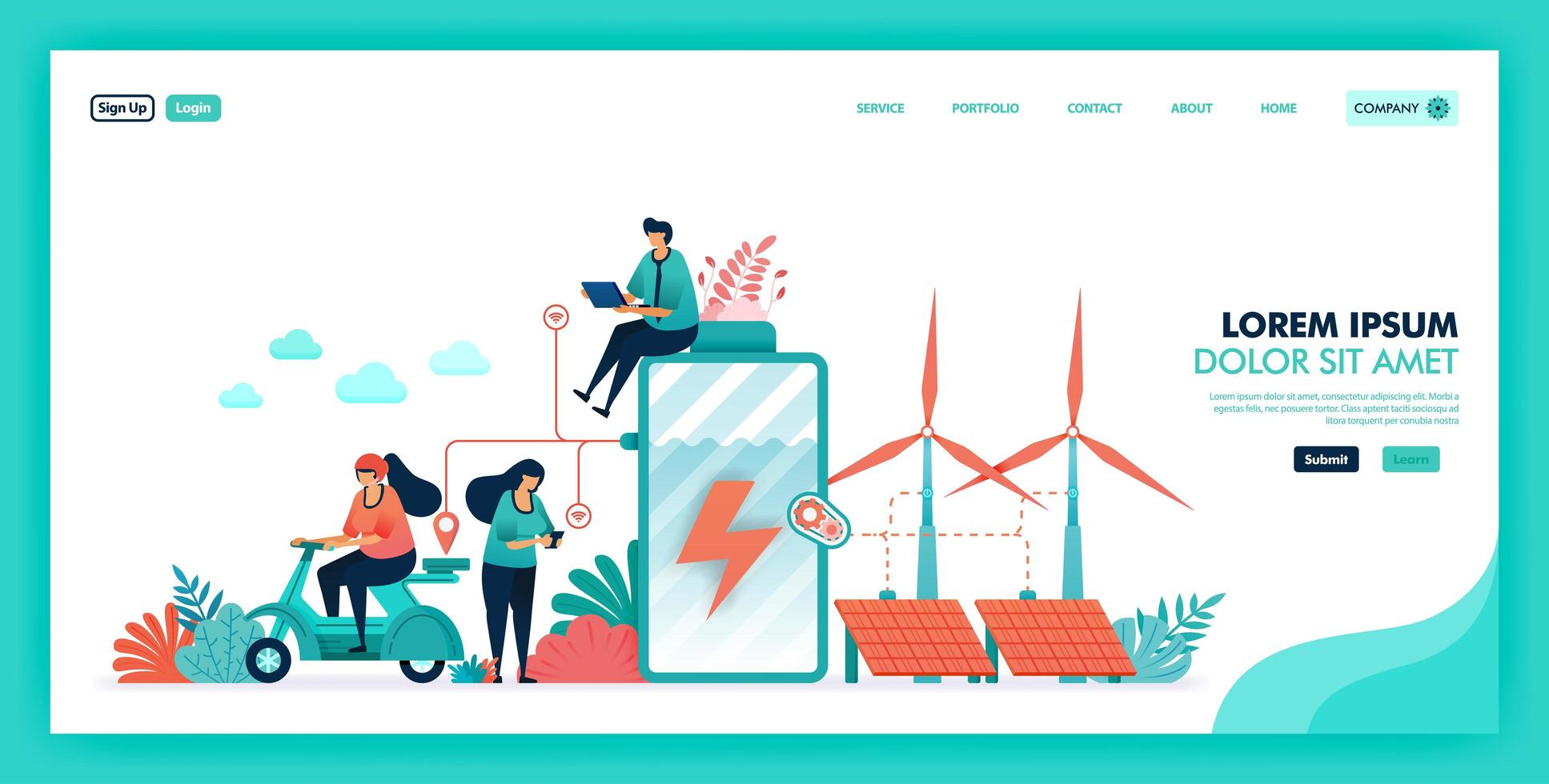 Green energy and more environmentally friendly source, Saving battery and earth with clean energy, Future smart energy with windmill, nuclear and solar panels. Flat illustration vector design concept.